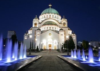 Cathedral of Saint Sava at evening, Belgrade, Serbia