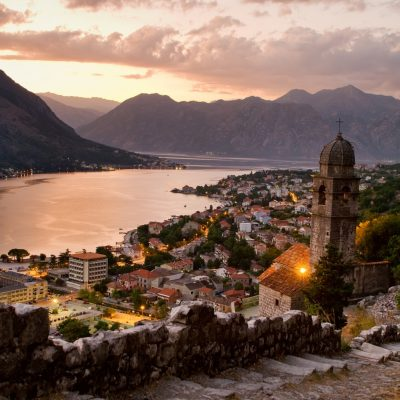 The old Mediterranean port of Kotor, surrounded by an impressive city wall built by Republic of Venice.