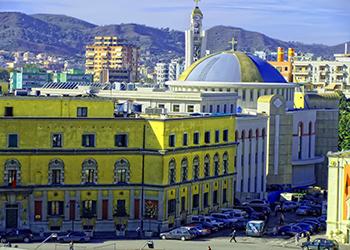 City center of Tirana, view from Clock Tower, Albania